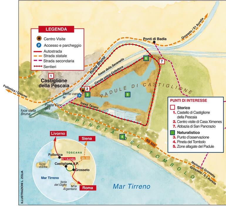 cartina lago prile, a de passi dall'Agriturist Prile, l'Agriturismo in Maremma vicino al mare